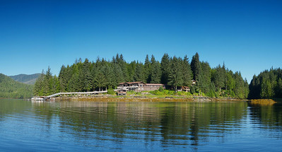 Yes Bay Lodge in SE Alaska. Photo taken with an Olympus E-500 DSLR with a 14-45 Zoom Lens in multiple shots and stitched into a panorama using Stoik Panarama Maker software.